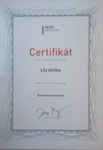 Certifikát pro Lily Aničku
