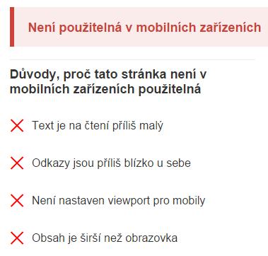 Stránka není použitelná v mobilních zařízeních