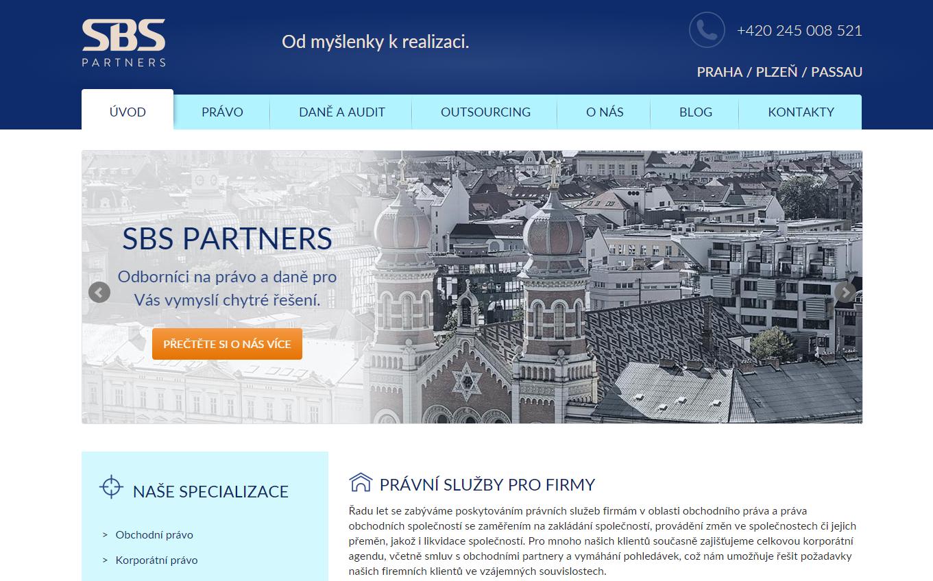 Náhled úvodní stránky SBS Partners